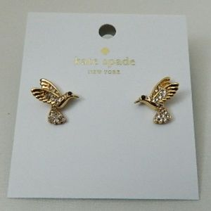 KATE SPADE Pave Hummingbird Stud Earrings in Gold